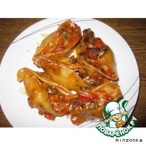 Рецепт: Макароны-ракушки, фаршированные грибами