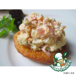 Рецепт: Творожно-тыквенно-сырные пышки с салатом