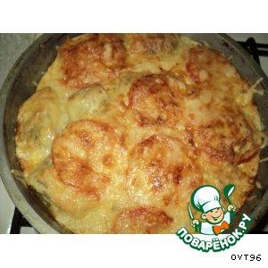 Рецепт: Гречка с рыбой, под сметаной и сыром