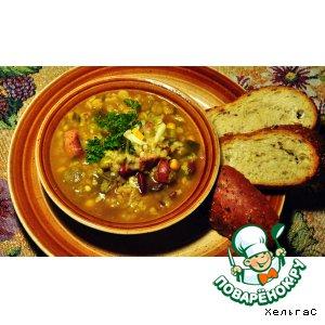 Рецепт: Суп из гороха, фасоли и чечевицы
