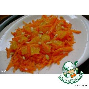 Рецепт: Морковный салат с апельсином и кедровыми орешками