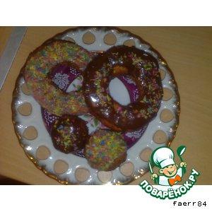 Рецепт: Творожные пончики в сахарной глазури
