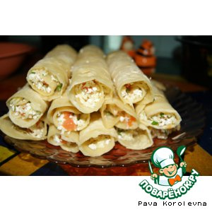 Tortillas with cheese and cottage cheese