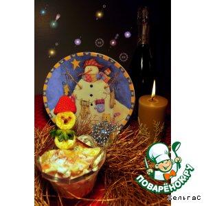 Рецепт Снеговик банановый с фруктовым салатом