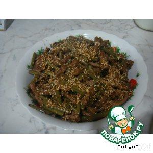 Рецепт: Горячий мясной салат с папоротником