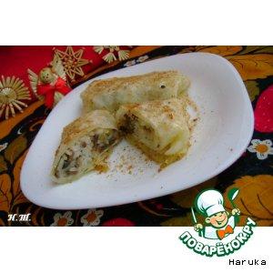 Рецепт: Капустные листья с рисом и грибами