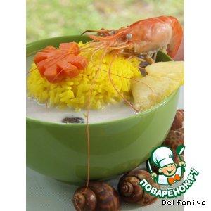 Рецепт: Том Кха с морепродуктами, шиитаке и шафрановым рисом