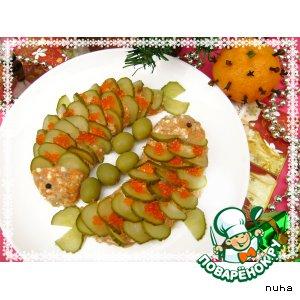 """Рецепт: Праздничная закуска из сельди """"Новогодние рыбки"""""""