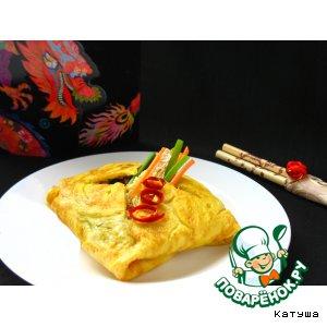 Рецепт: Рис с древесными грибами в омлете по- китайски