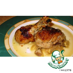 Рецепт: Тушеная курица с большим количеством лука