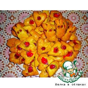 Рецепт: Апельсиновое печенье с вареньем