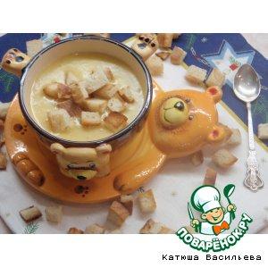 Рецепт: Суп-пюре с тыквой и овсяными хлопьями