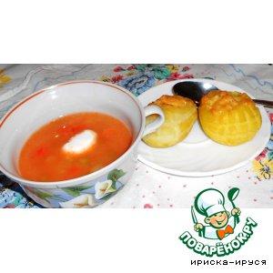 Рецепт: Куриный суп-пюре и картофельные лапти