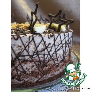 Рецепт: Нежный банановый торт Звездочка