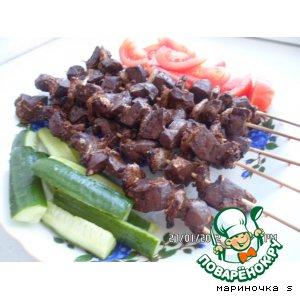Рецепт Шашлык из печени с курдюком  «Ну очень вкусный»