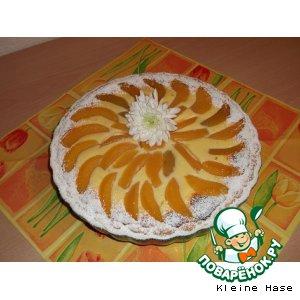 Рецепт: Творожный  тарт  с  персиками
