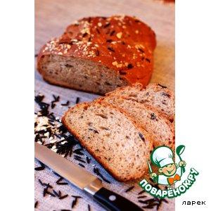 Рецепт: Хлеб с диким рисом и овсяными хлопьями