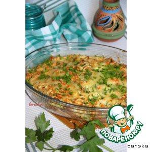 Рецепт: Запечeнные блинчики с творожно-овощной начинкой