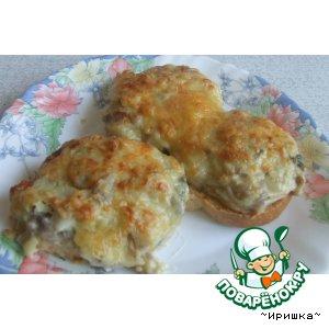 Рецепт: Горячие бутербродики с грибами