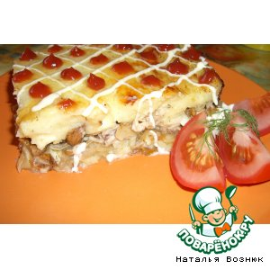 Рецепт: Картофельная запеканка с лисичками и курицей
