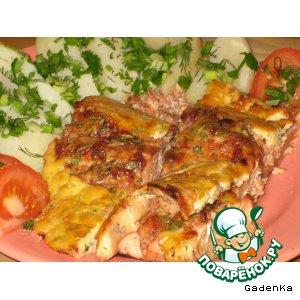 Рецепт: Форель в брусничном маринаде под сырным суфле