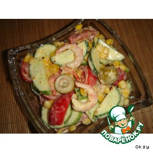 Рецепт: Салат Загулявшие креветки