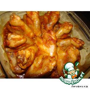 Рецепт: Куриные крылышки Горячие Сердца
