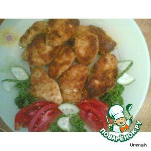 Рецепт: Филе курицы в панировочных сухарях