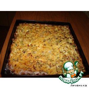 Рецепт: Пирог с молодой капустой и грибами