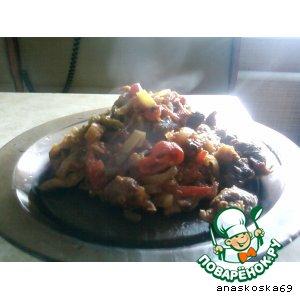 Рецепт: Овощное рагу с куриными сердечками