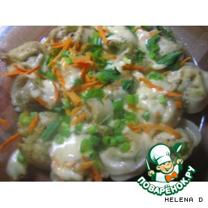 Рецепт: Пельмешки под сыром с морковкой