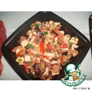 Рецепт: Теплый салат из баклажанов
