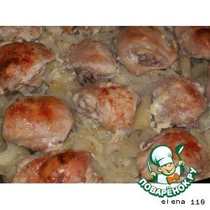 """Рецепт: Курица с картофелем и луком """"Аппетитная"""""""
