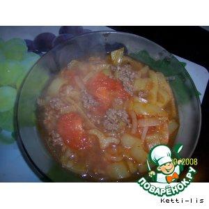 Рецепт: Томатный суп с фаршем Мексиканские мотивы