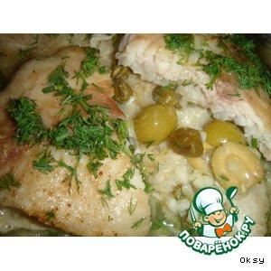 Рецепт: Рыба, запеченная с оливками и каперсами