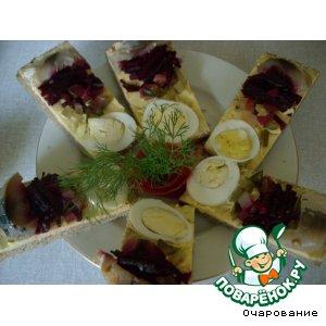Рецепт: Торт бутербродный с копченой рыбой
