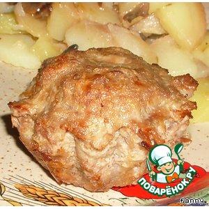 Рецепт: Мясные маффины с грибной начинкой