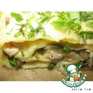Рецепт: Сырный рулет с курицей и шампиньонами