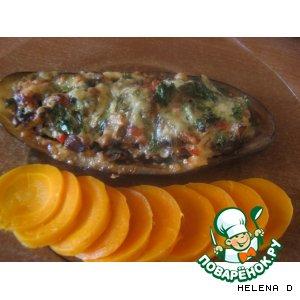 """Рецепт: Баклажановые """"лодочки"""", запеченные с овощами"""