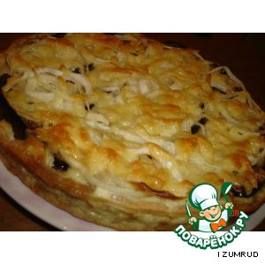 Рецепт: Открытый пирог с баклажанами