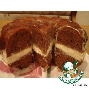 Рецепт: Шоколадный кекс с творожной начинкой