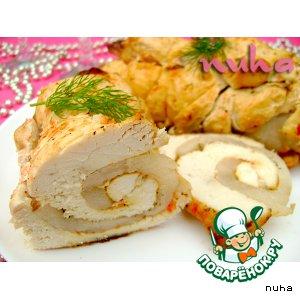 Рецепт Сочный рулет из куриного филе, маринованного в томатно-йогуртовом маринаде