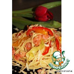 Рецепт: Паста с овощами и креветками