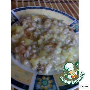 Рецепт: Каша из картофеля с перловой крупой и мясом