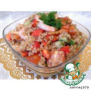 Рецепт: Салат с овощами, креветками и ячкой
