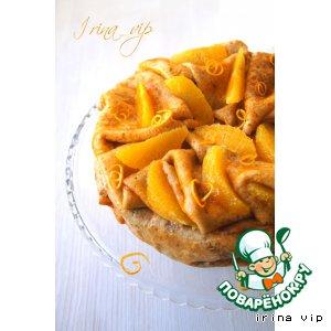 Рецепт: Блинный торт с апельсином и взбитыми сливками
