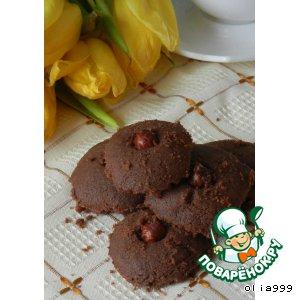 Рецепт: Шоколадные печенюшки с фундуком