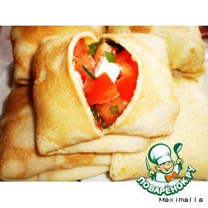 Рецепт Блины с сыром Фавита, томатами и зеленью