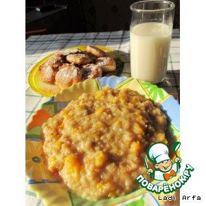 Рецепт: Овсянка, молоко из кунжута и оладьи