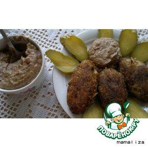 Рецепт: Картофельно-гречневые котлеты под грибным майонезом